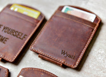 Close-up of the Super Slim Personalized Leather Magnetic Money Clip with name engraving