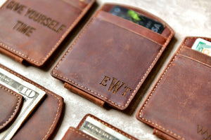Super Slim Personalized Leather Magnetic Money Clip with engraved initials