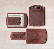 Three Super Slim Personalized Leather Magnetic Money Clips with engravings on the clip and corner