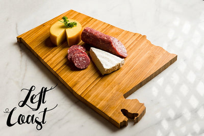 Alabama State Shaped Cutting Board with meat and cheese assortment