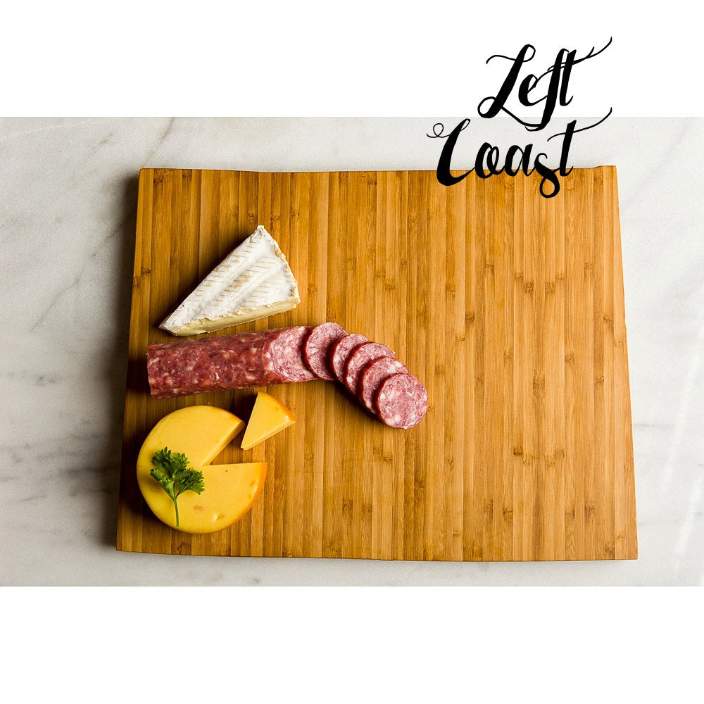 Colorado State Shaped Cutting Board with meat and cheese assortment