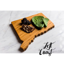 Connecticut State Shaped Cutting Board with a snack assortment