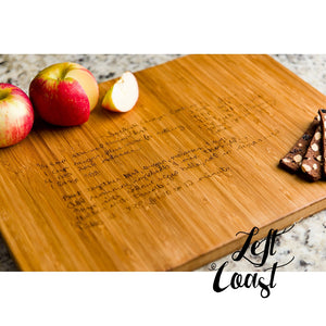 Custom Handwriting Personalized Bamboo Cutting Board with engraved recipe and food