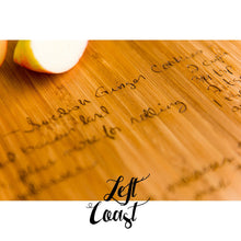Close-up of Custom Handwriting Personalized Bamboo Cutting Board engraved recipe