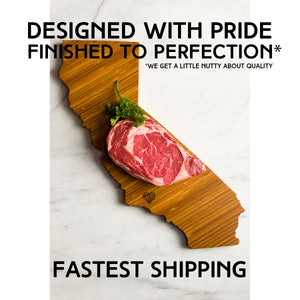 Photo emphasizing the quality and fast shipping of Left Coast Original cutting boards
