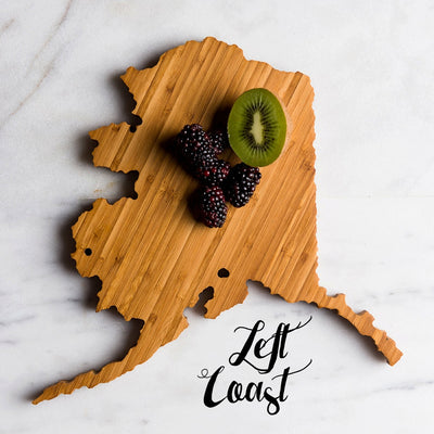 Alaska State Shaped Cutting Board with fruit assortment