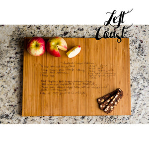 Custom Handwriting Personalized Bamboo Cutting Board with engraved recipe