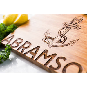 Anchor Personalized Cutting Board Sailing Bold Font Wedding Men Mom Dad Anniversary Engraved