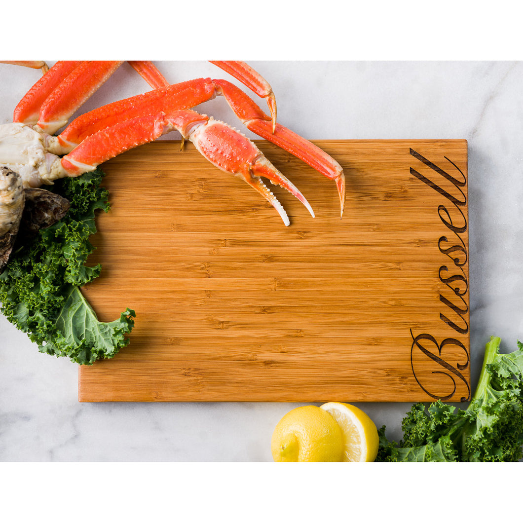 Script Font Personalized Bamboo Cutting Board with family name engraving