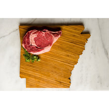 Arkansas State Shaped Cutting Board with meat