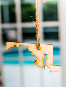Ornament State Wood Maryland Hanging Gift Magnet Wedding Favor Home Wanderlust Travel Big Laser Cut