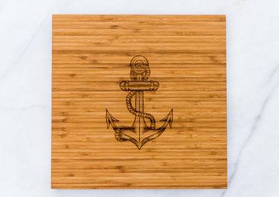 Anchor Cutting Board or Serving Sailing Wedding Gift Her Him Men Mom Dad Anniversary Engraved Chef
