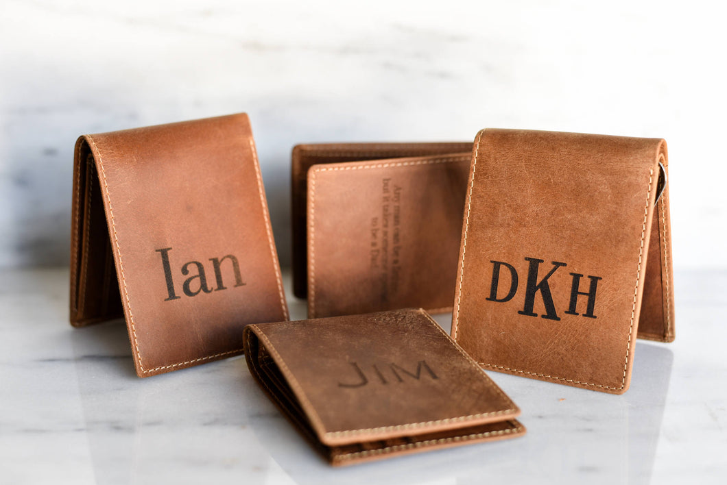 Personalized Leather Men Gift Dad Father Boyfriend Brother Guy Groomsman Best Man Key Largo Wallet