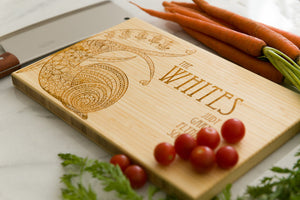 Personalized Cutting Board, Snail, Wedding Gift, Anniversary Gift, Family Name, Engraved Gift