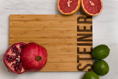 Personalized Bamboo Cutting Board with last name engraved