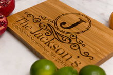 Family Name Monogrammed Bamboo Cutting Board with engravings