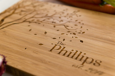 Close-up of Falling Leaves Personalized Bamboo Cutting Board