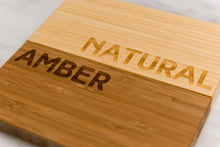 Personalized Bamboo Cutting Board in Amber and Natural/Blonde