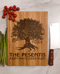 Personalized Cutting Board Tree Anniversary Mom Wedding Monogram Family Name Engraved Initials Chef