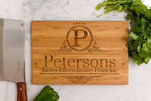 Personalized Cutting Board Wedding Mom Dad Anniversary Initials Family Name Engraved Monogram Chef