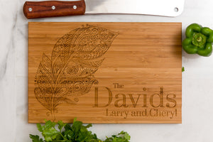 Personalized Cutting Board, Feather, Wedding Gift, Anniversary  Family Name Engraved Gift Monogram