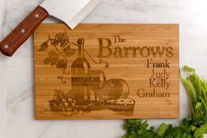 Personalized Cutting Board Wine Grapes Anniversary Engraved Monogram Initials Chef Kitchen