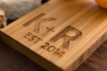 Wedding Personalized Cheese Cutting Board Gift Eco Dad Mom Anniversary Bamboo Initials Engraved