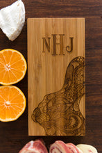 Personalized Cutting Board Bunny Rabbit Intricate Dad Mom Wedding Anniversary Monogram Initials Engraved Chef Cheese Board