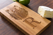 Personalized Bear Gift Beard Dad Mom Wedding Anniversary Monogram Initials Engraved Cheese Board