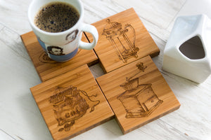 Coasters Personalized Coffee Lover French Press Table Decor Anniversary Dad Mug Grad Gift Engraved