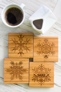 Coasters Snowflake Winter Cocktail Wedding Unique Anniversary Dad Mom Grandparents Grad Engraved