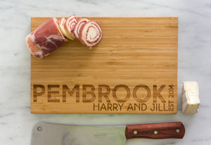 Engraved Name Personalized Bamboo Cutting Board with meat, cheese, and knife