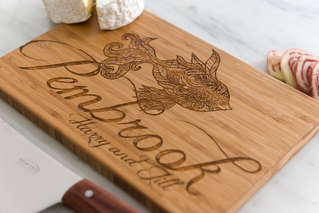Personalized Cutting Board Wedding Fish Script Underwater Flowing Anniversary Family Name Engraved