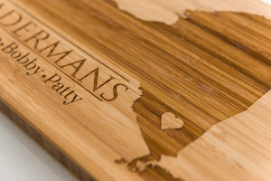 Massachusetts Personalized Cutting Board Men Chef Dad Mom Gift Initials State Wedding Anniversary