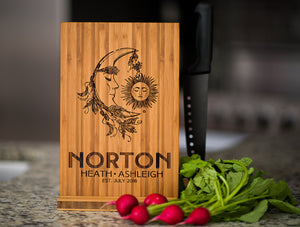 Personalized Cutting Board Wedding Sun Moon Anniversary Family Name Engraved Monogram Initials Chef