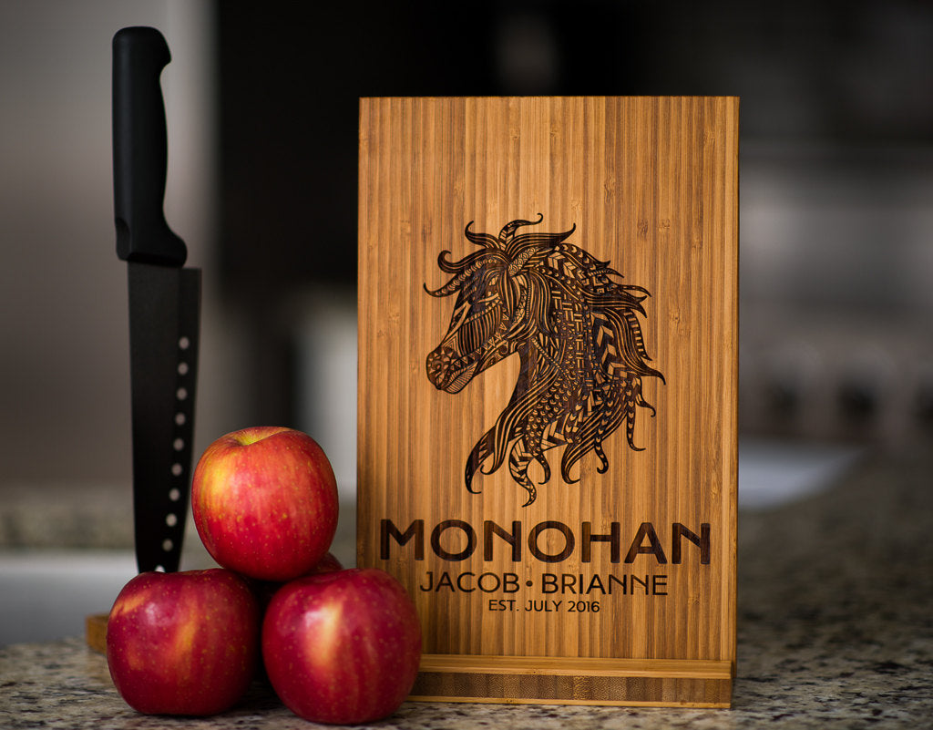 Personalized Cutting Board Wedding Horse Anniversary Family Name Engraved Monogram Initials Chef