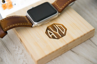 Triple Slot Apple Watch Charging Dock Personalized Gift Organized Anniversary Wedding Mom Dad Guy