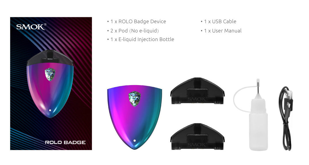 Smok Rolo Badge Pod Kit System - Vapor in a Bottle