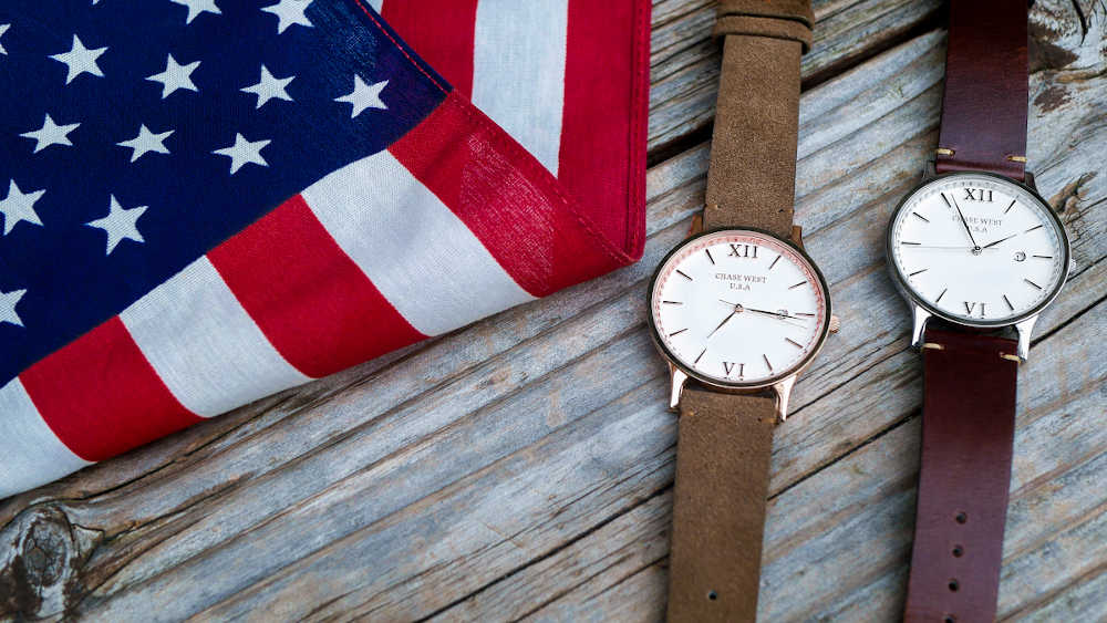 two watches with flag