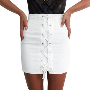 Vintage White Denim Lace Up Skirt