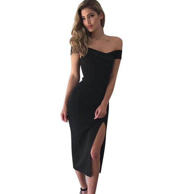 Elegant Off Shoulder Split Black Dress