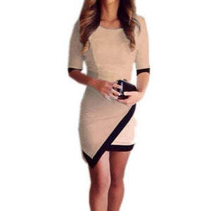 Black & White Half Sleeve Bodycon Mini Dress