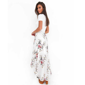 Flower Print Boho Asymmetrical Skirt