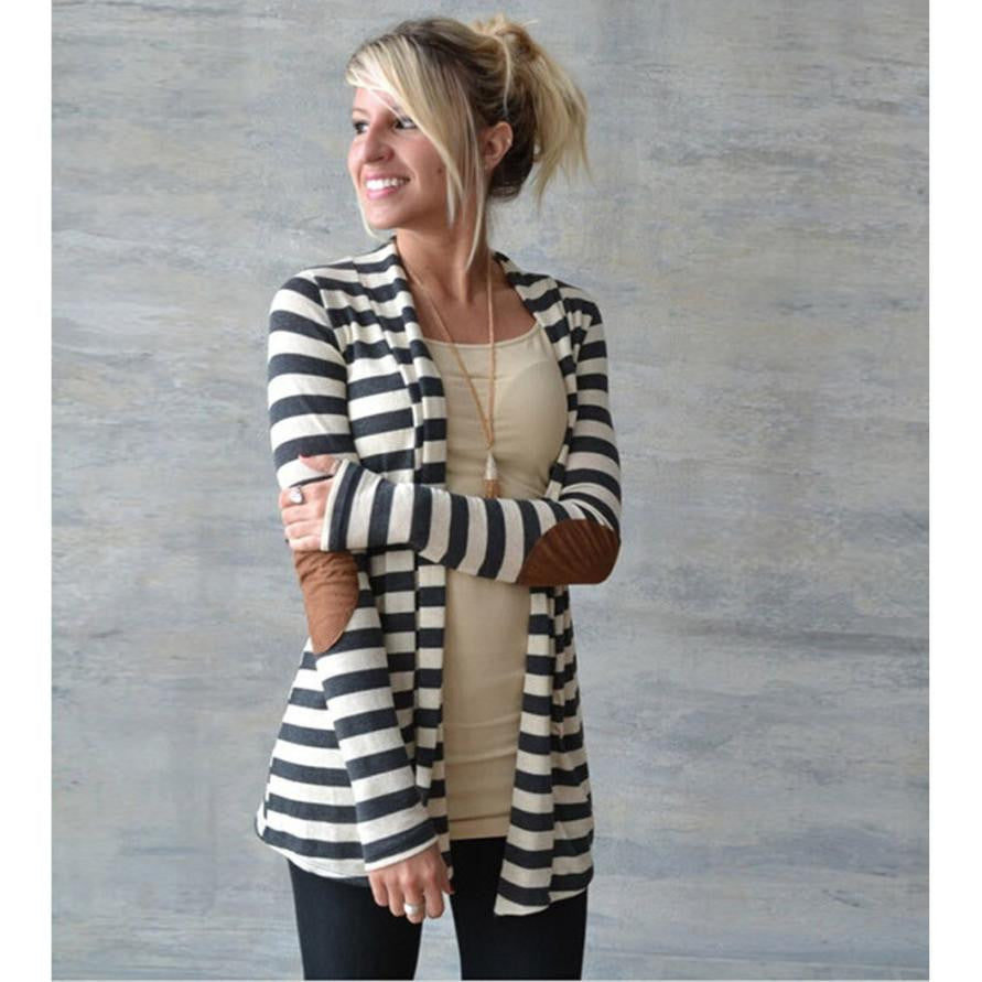 Ladies Casual Striped Cardigan