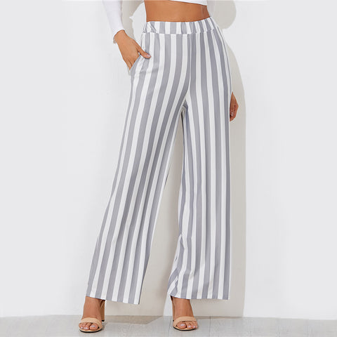 Casual Grey Striped Wide Leg Pants
