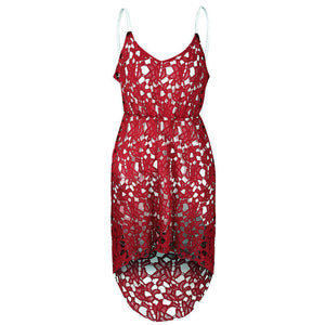 Women Elegant Spaghetti Strap Sleeveless Lace Midi Dress