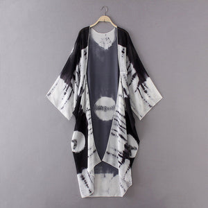 Printed Chiffon Loose Shawl Cardigan Top