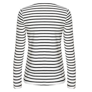 Striped Long Sleeve Casual Drawstring Top