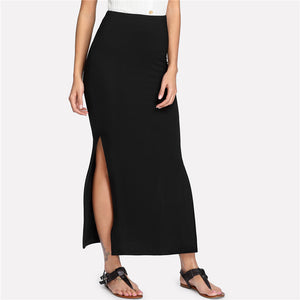 Women's Solid Black Long Maxi Skirt