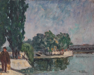 Maurice Fallies (1883-1965): Bord de Seine avec promeneurs. People walking along the Seine.